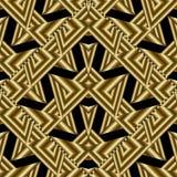 Modern gold geometric seamless pattern. Abstract black backgroun Stock Images
