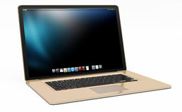 Modern gold laptop on white background 3D rendering. Modern digital gold and black laptop on white background 3D rendering Royalty Free Stock Photos