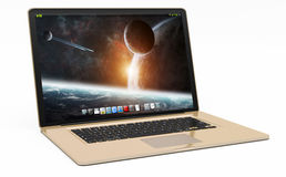 Modern gold laptop on white background 3D rendering. Modern digital gold and black laptop on white background 3D rendering Royalty Free Stock Images