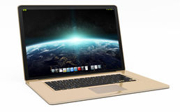 Modern gold laptop on white background 3D rendering. Modern digital gold and black laptop on white background 3D rendering Stock Image