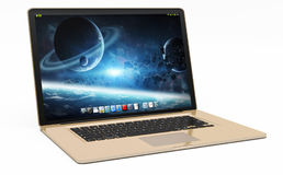 Modern gold laptop on white background 3D rendering. Modern digital gold and black laptop on white background 3D rendering Stock Images