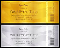 Modern gold and silver ticket with abstract backgr Stock Photos