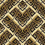 Modern gold vector meander seamless pattern. Abstract striped gr. Eek key background. 3d golden wallpaper. Geometric trendy tiled ornaments, shapes, rhombus Stock Photos