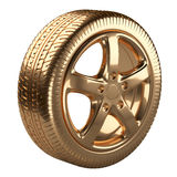 Modern golden car wheel isolated on a white background Stock Photos