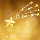 Modern golden christmas greeting card, invitation with comet, falling star,  Stock Photography