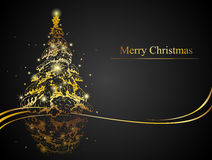 Modern golden Christmas tree Royalty Free Stock Images