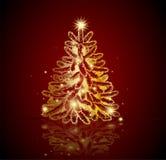 Modern golden Christmas tree Stock Photography