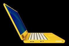 Modern golden laptop. 3d render of modern golden laptop isolated on black Vector Illustration