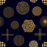 Modern golden print with crosses, hexagons, triangles and circles. Seamless vector pattern with geometric motifs. Abstract background with golden ornaments Vector Illustration