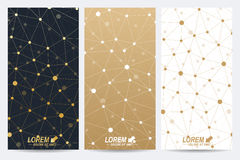 Modern golden set of vector flyers. Modern stylish polygonal pattern with connected line and dots. Molecule and vector illustration