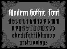 Modern Gothic Font. Vector modern gothic alphabet in frame. Vintage font. Typography for labels, headlines, posters etc royalty free illustration