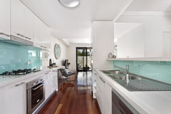 Modern gourmet kitchen interior Royalty Free Stock Photo