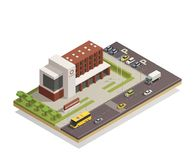 Government Building Outdoor  Isometric Composition. Modern government building compound in city center and surrounding area architectural composition isometric Stock Image