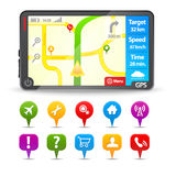 Modern Gps with colorful map pointers Royalty Free Stock Images