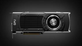 Modern GPU gaming graphic card on dark background 3d stock image