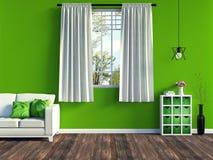 Modern grön vardagsruminre med den vitt soffan och möblemang och gammal wood durk Arkivfoton
