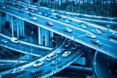 Modern grade separation viaduct closeup. Closeup of the grade separation viaduct with cars motion blur Stock Photos
