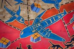 Modern graffiti and street art. Helsinki, Finland - 22.08.2017: Modern graffiti and street art. Grotesque drawings of people, primitive painting, drawing like stock image