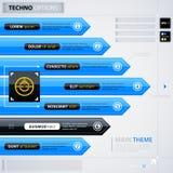 Modern grafiekmalplaatje met blauwe pijlen Stock Afbeeldingen