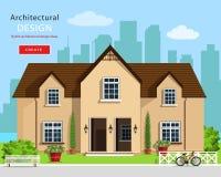Modern grafisk arkitektonisk design Färgrik uppsättning: hus, bänk, gård, cykel, blommor och träd Plant stilvektorhus Royaltyfria Foton
