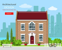 Modern grafisk arkitektonisk design Gulligt tegelstenhus Färgrik uppsättning: hus, bänk, gård, cykel, blommor och träd vektor illustrationer