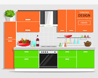 Modern grafisk kökinredesign Färgrikt kök med möblemang Plana stilkök- och husanordningar royaltyfri illustrationer