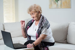 Modern grandma talking on the skype Stock Image