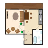 Modern graphic apartment top view. Living room, kitchen, hall and bathroom. Flat style vector illustration Stock Image