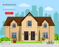 Modern graphic architectural design. Colorful set: house, bench, yard, bicycle, flowers and trees. Flat style vector house. stock illustration