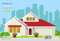 Modern graphic architectural design. Colorful set: house, bench, yard, bicycle, flowers and trees. Royalty Free Stock Image