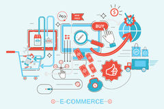 Modern graphic design style concept of online shopping royalty free illustration