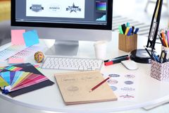 Modern graphic designer workplace. Close up stock photography