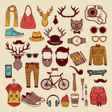 Modern graphic elements in hand drawn style. Fashioned hipsters culture icon set. Hipster colored doodle vintage watch and glasses, vector illustration Royalty Free Stock Photography