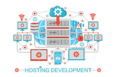 Modern graphic flat line design style infographics concept of Hosting development with icons, for website, presentation vector illustration