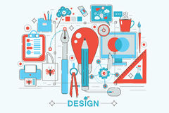 Modern graphic flat line design style infographics concept stock illustration