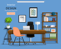 Modern graphic office room interior: desk, chairs, bookcase, laptop, lamp. Vector illustration. Royalty Free Stock Images