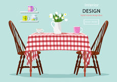 Modern graphic vector concept of dining table with chairs, cups and flowers Royalty Free Stock Photography
