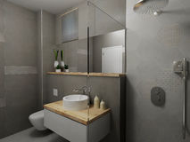Modern gray bathroom Royalty Free Stock Photo