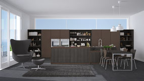 Modern gray and brown kitchen with wooden details, big window wi Royalty Free Stock Photo