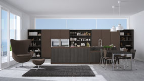 Modern gray and brown kitchen with wooden details, big window wi Royalty Free Stock Image