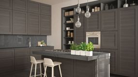Modern gray kitchen with dark wooden details in contemporary luxury apartment with parquet floor, vintage retro interior design,. Architecture open space living royalty free illustration