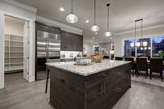 Modern gray kitchen features dark gray cabinetry Stock Photos