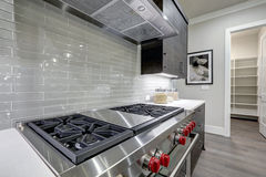 Modern gray kitchen features steel stove with a hood. Modern gray kitchen features stainless steel stove with a hood paired with glossy gray linear tile Stock Images