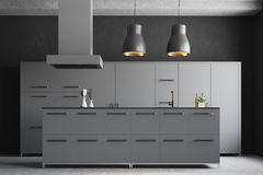 Modern gray kitchen interior. With a concrete floor, gray cupboards and countertops and original ceiling lamps. 3d rendering mock up Stock Image