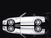Modern gray metallic sports convertible. Open car with tuning. 3d rendering. Modern gray metallic sports convertible. Open car with tuning. 3d rendering Royalty Free Stock Photo