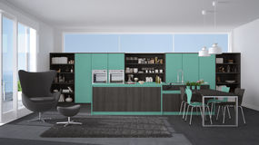 Modern gray and turquoise kitchen with wooden details, big window with sea or lake panorama vector illustration