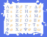 Modern Greek alphabet. Modern Greek language alphabet in a frame stock illustration