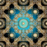 Modern greek 3d seamless pattern. Vector geometric background. G. Old ornate wallpaper. Greek key mandalas, meander rhombus and square frames. Vintage ancient Royalty Free Stock Photo
