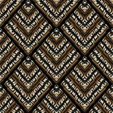 Modern greek key seamless pattern. Abstract black gold striped m. Eander background. 3d wallpaper. Geometric trendy tiled ornaments, shapes, rhombus, frames Stock Photos