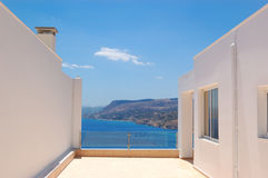 Modern Greek villa with sea view Stock Images